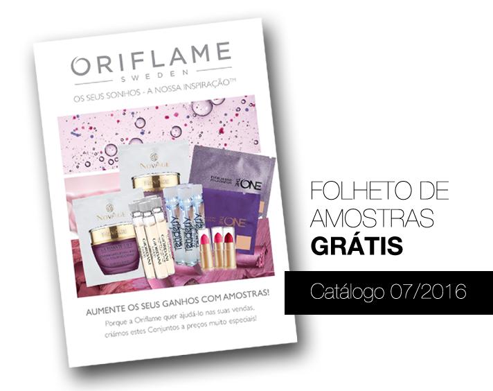 Folheto de Amostras Grátis no Catálogo 07 de 2016 da Oriflame