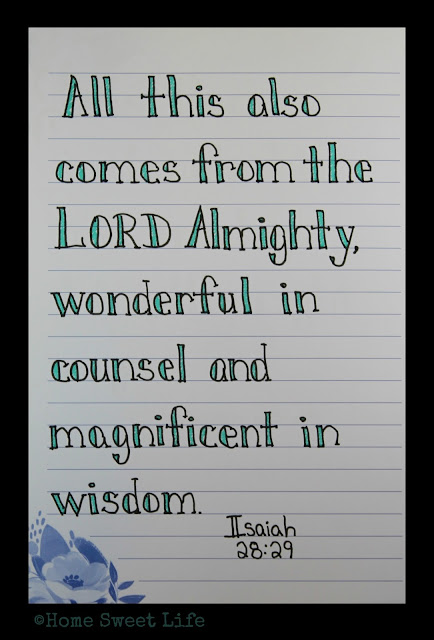 Scripture Writing, Isaiah 28:16, hand lettering