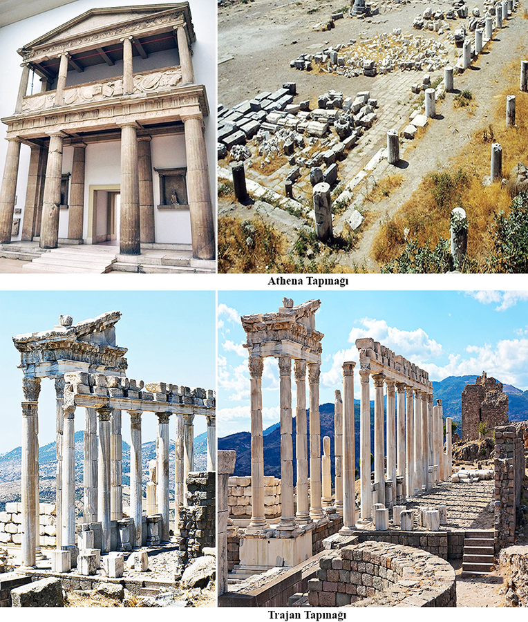 Temple of Athena and Temple of Trajan (Trajaneum) at the Pergamon in Turkey