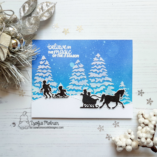 Winter silhouette card by Zsofia Molnar | Winter Memories Stamp Set and Evergreens Stencil by Newton's Nook Designs  #newtonsnook #handmade