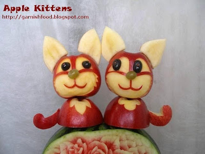 cat edible garnish of apples