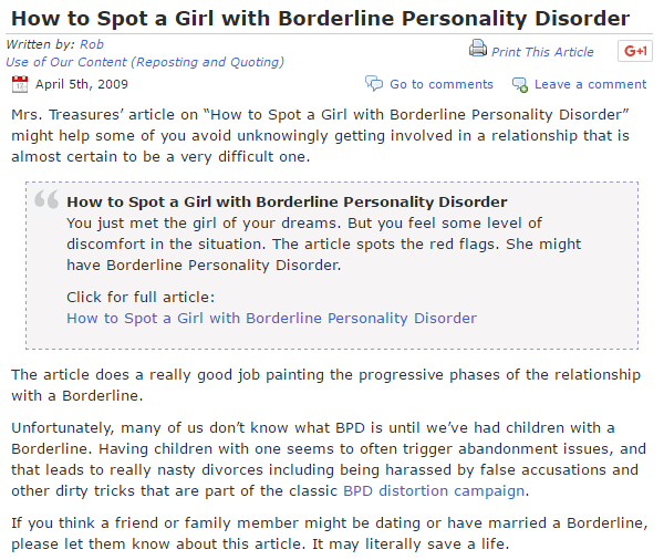 Borderline personality disorder accusations