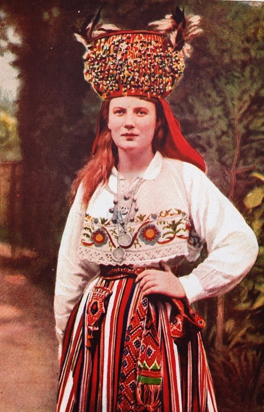 Bride from Estonia in traditional attire, vintage photo