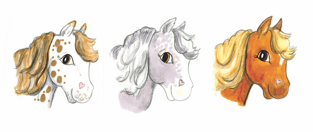 Hand drawn horse heads