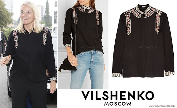 Crown Princess Mette-Marit wore Vilshenko Rachel embroidered wool and cashmere-blend blouse