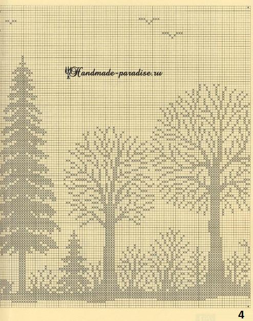 Лес. Филейные шторы крючком и вышивка (4)