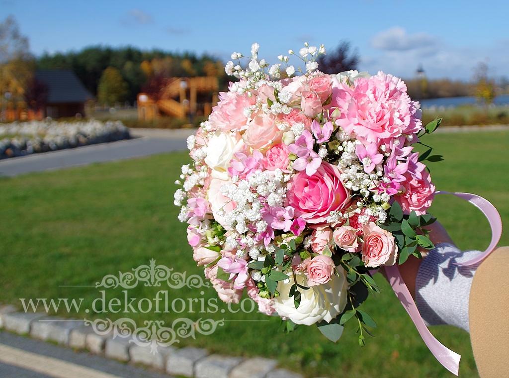 Różowy bukiet ślubny Bajka Grodziec
