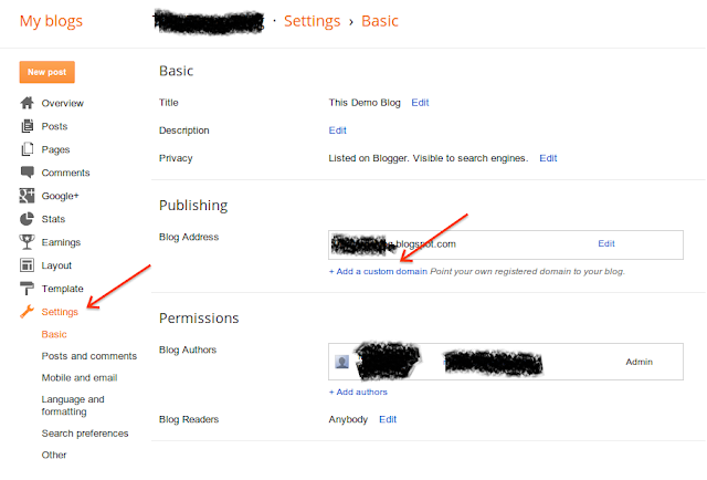 Adding Custom Domain To Blogger Setting