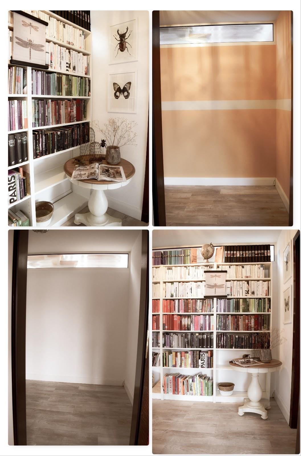 Renovierung Update Vorher Nachher Bücherregale ordnen und schön dekorieren. Dekotipps Ordnung Bücher Regale Bibliothek
