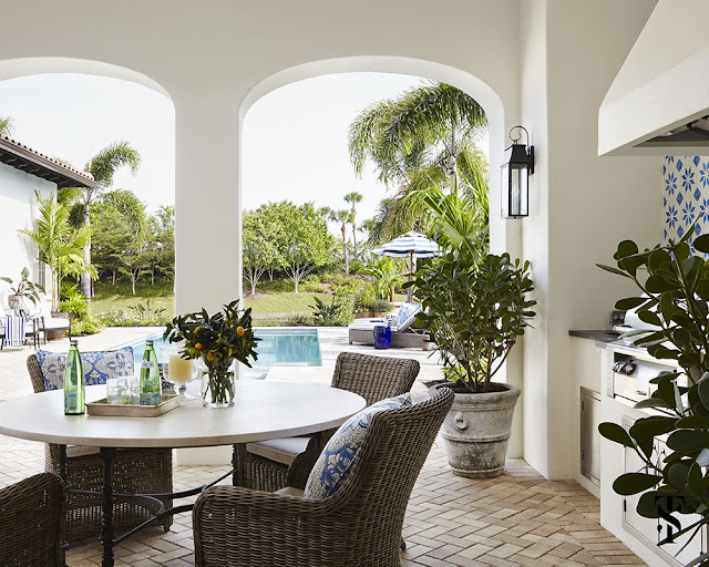 Blue and white decor in Naples Florida vacation home by Summer Thornton