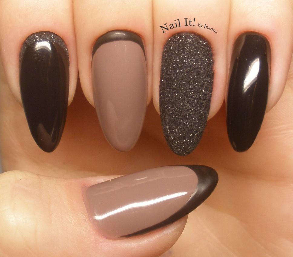 "Indigo Nails Black Snow Effect nail art (with ""My Fav Bag"" Gel Polish)"