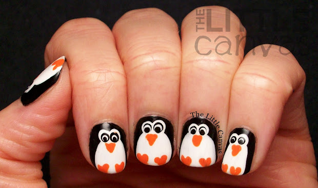 penguin nail art - little canvas