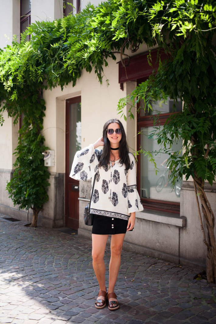 Outfit: Bell Sleeve blouse, platform sandals