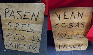 Curiosos carteles de maeketing casero en el desembalaje de Bilbao en el BEC