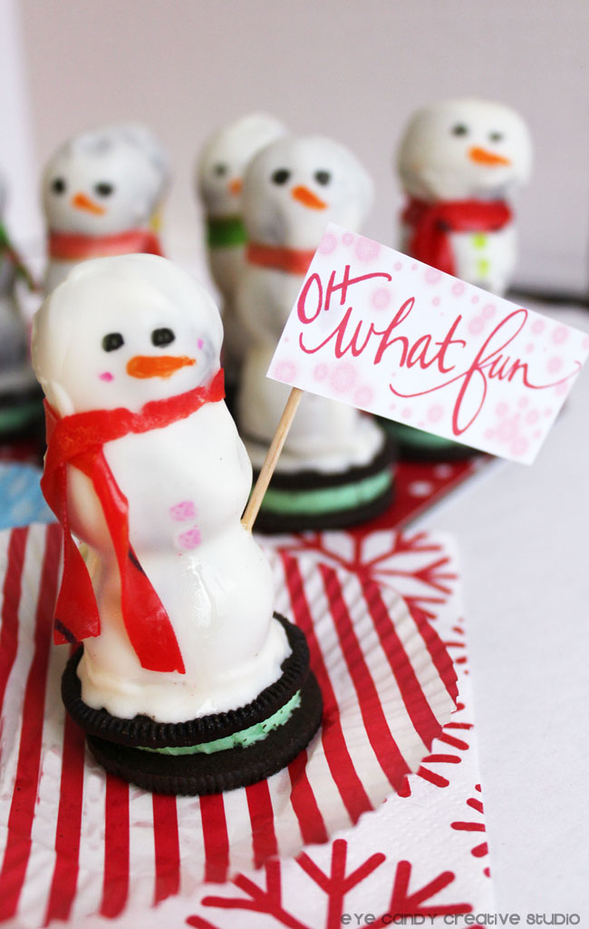 kids party treat, oreo truffles, oreo snowman, oh what fun, hand lettered sign
