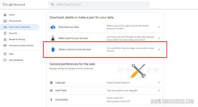 Delete Google Service