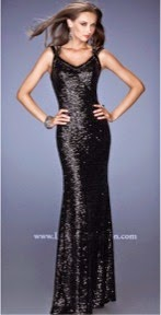 All-Over Sequin V-Neck Cap Sleeve Prom Dresses by La Femme