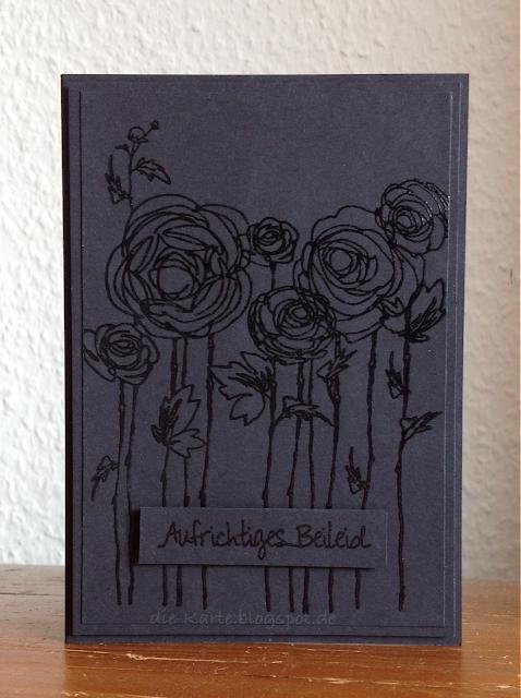 """""""Ranunculus Field"""" Stampendous, """"Strichstempel l"""" Jm Creation,  Trauerkarte"""