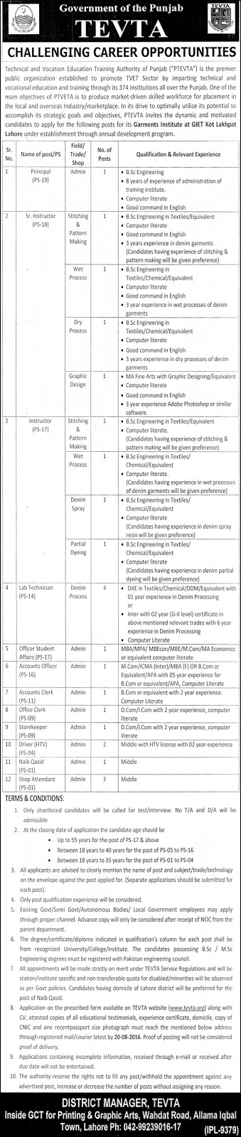 Lecturers and Admin Jobs in Lahore TEVTA Jobs in Pakistan 2016 Latest Jobs