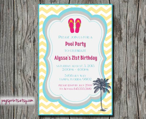 Adult Pool Party Invitation