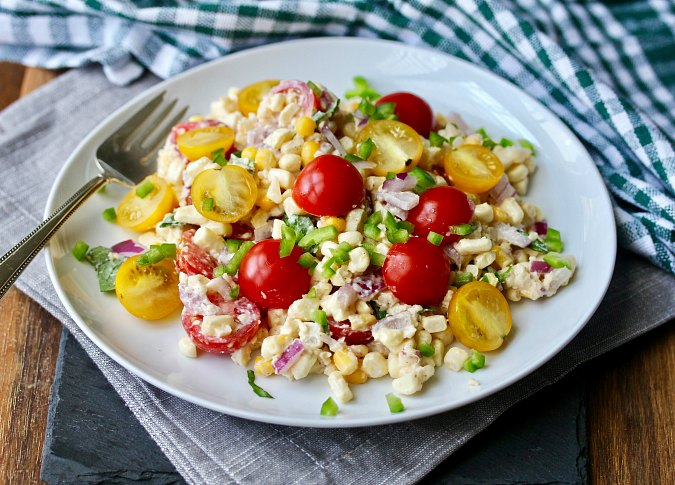 Mexican Street Corn Salad with tomatoes