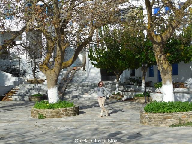 Plac Dyo Choria, ogołocone greckie platany