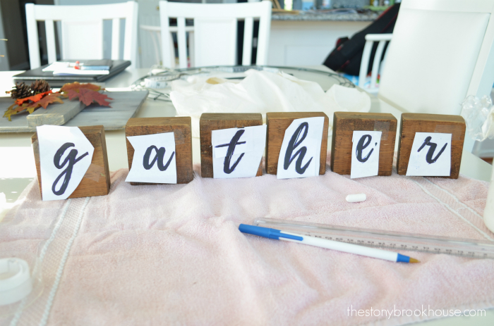 """gather"" letters on blocks"