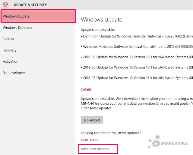 Windows Update Advanced Options - Cara Mudah Mematikan Windows Auto Update di Windows 10 - by sharehovel