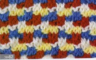 Patrón #1633: Punto Multicolor a Dos agujas