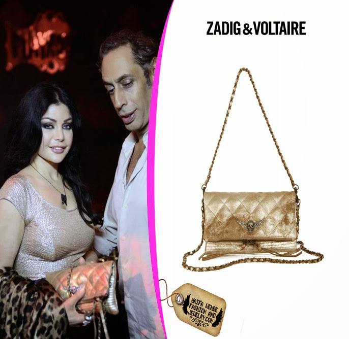 3230f79171 Haifa Wehbe carrying The Rock Matelasse Gold Deluxe Clutch by Zadig &  Voltaire