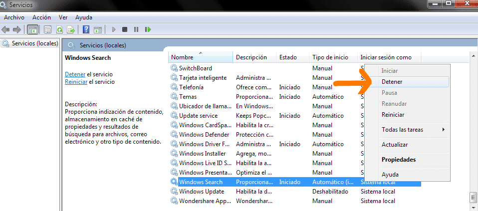Detener el servicio Windows Search