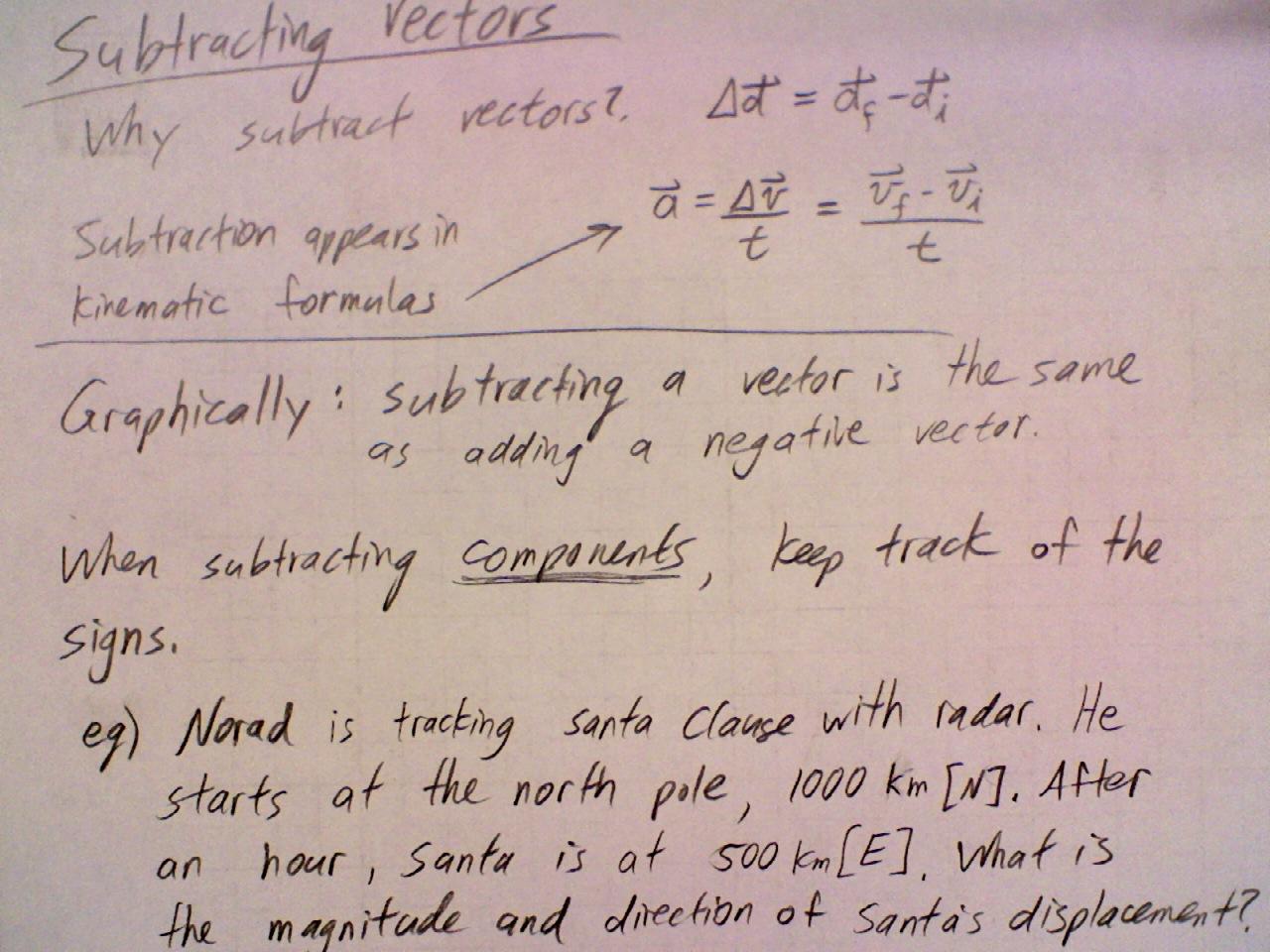 Apr 3 Class Subtracting Vectors