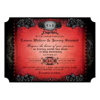 Halloween Red & Black Gothic Together With Wedding Card