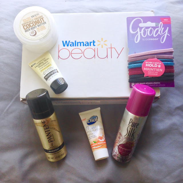 beauty, unboxing, subscription box, Walmart, NSPA, coconut, body butter, Goody, slide proof, hair, Neutrogena, healthy skin, cleanser, Purse Silk, raspberry, shave cream, Dial, moisturizing, lotion, Pantene, hairspray, Pro-V
