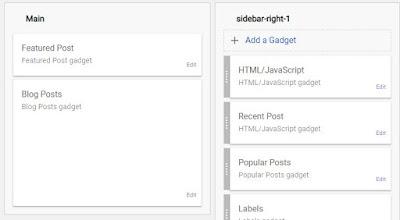 Pindahkan/geser widget featured post tadi ke atas widget Blog Post