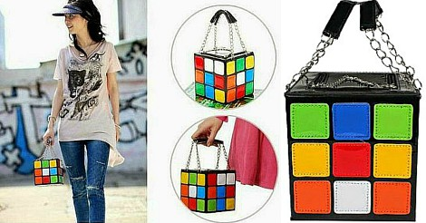 Rubik's Cube Clutch Handbag Collage