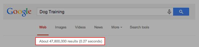 Búscar de tus Palabras Clave en Google u otro motor, es fundamental para saber baremar el número de resultados