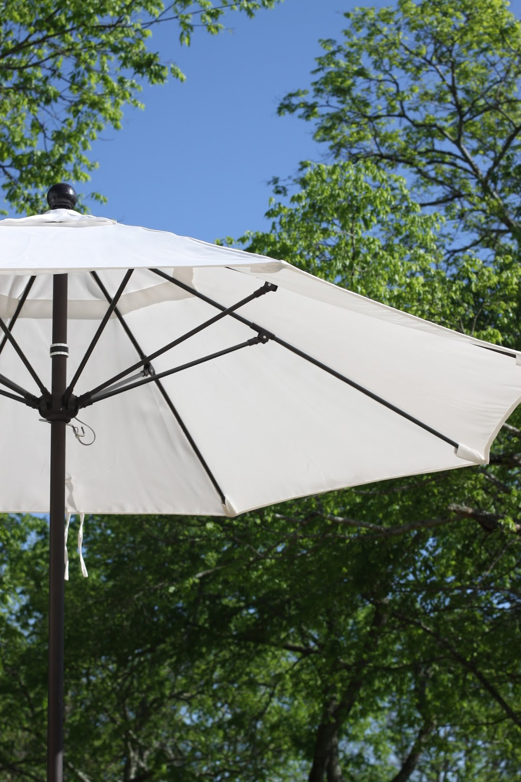 and the last of the refresh is our new umbrella from overstock.com....what is it that is so pretty about a white umbrella against a blue sky? just magical i ... & miss maggie rae: twinkle lights cool air and pretty shade from ...
