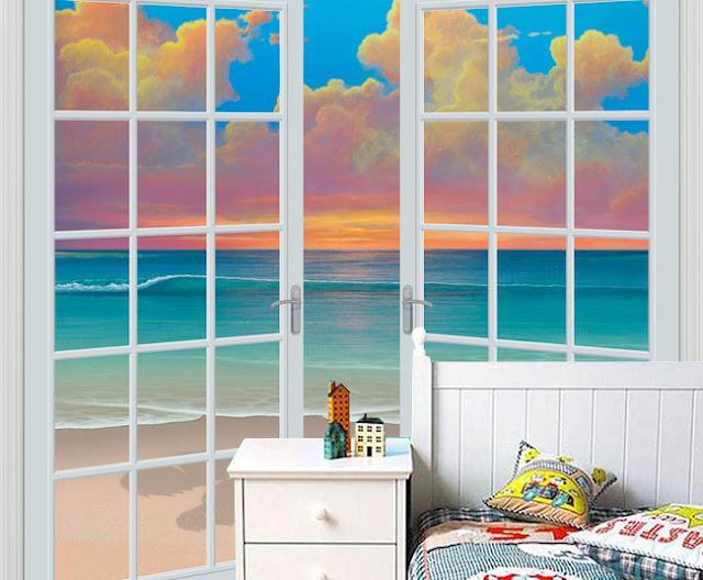 Tropiikki Rannat Tapetti Meri Valokuvatapetti Ikkuna