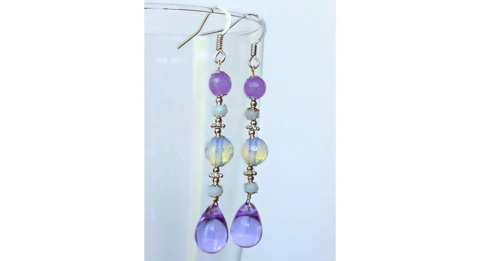 long multi stones earrings