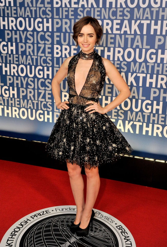 Lily Collins sparkles in a low cut dress at the Breakthrough Prize Ceremony 2016