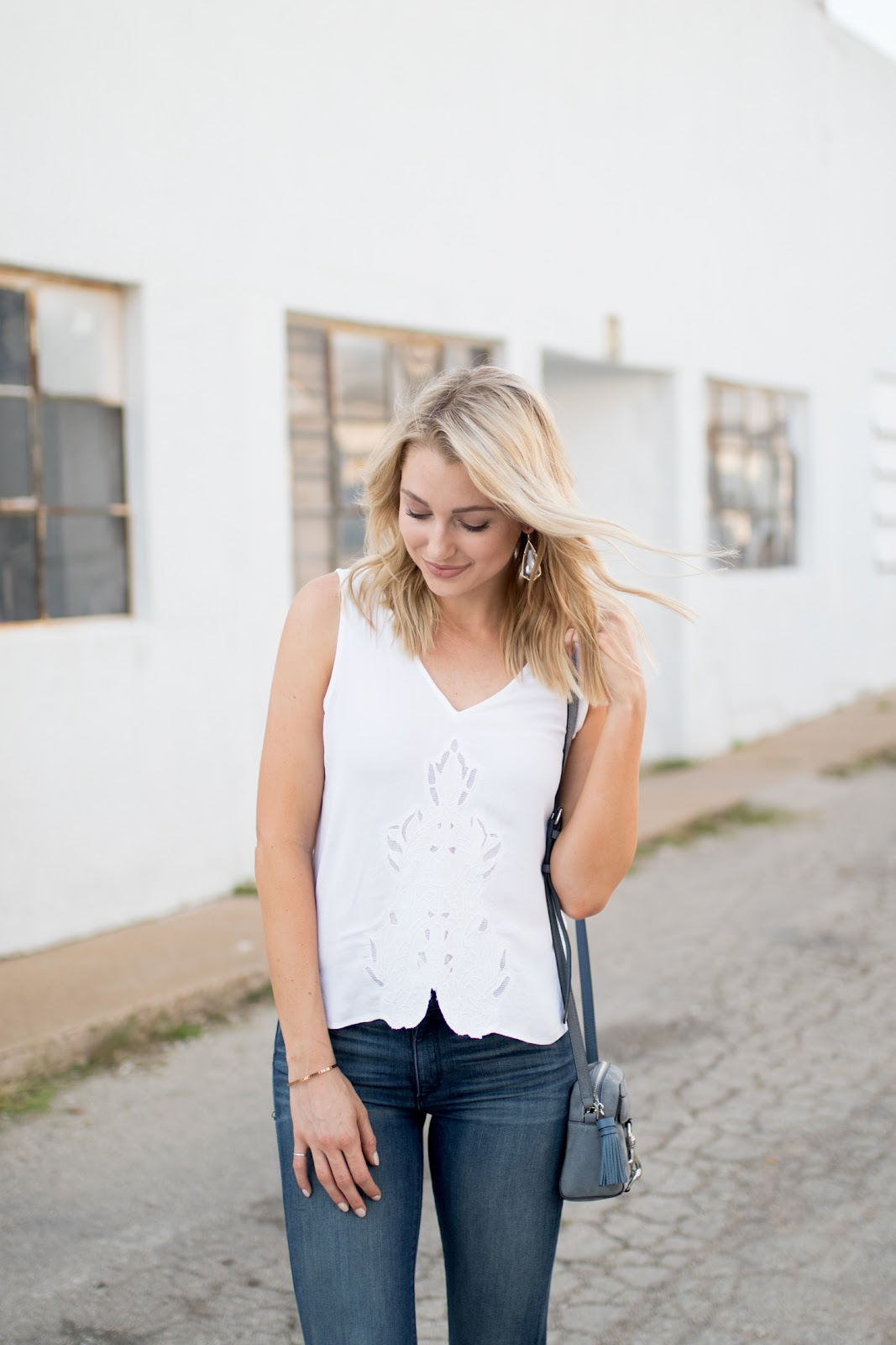 White eyelet top with denim