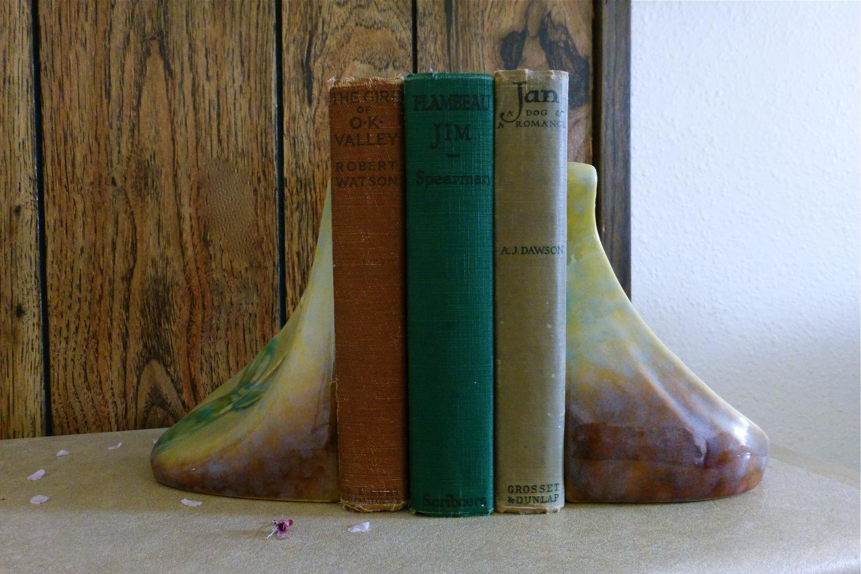 vintage hard back books, Roseville Pottery, Roseville Pottery ceramic book-ends, vintage books, ceramic book-ends