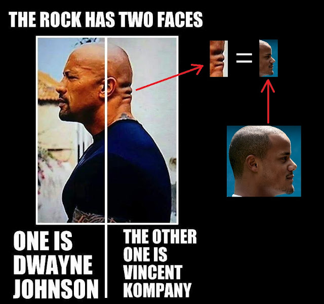 the rock, the rock has two faces, dwayne johnson, vincent kompany, two faces, two face, two faces meme, two face meme, the rock meme