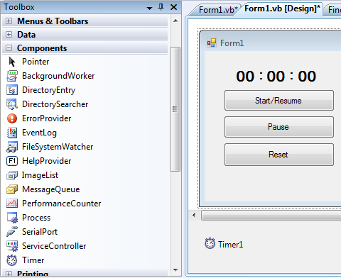Timer Stopwatch in Visual basic