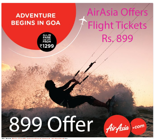 AirAsia Offers Flight Tickets Rs. 899 Booking Online