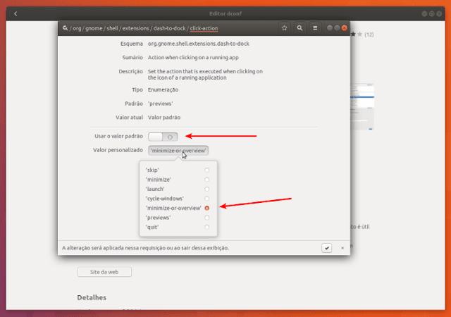 Configurando o minimize on click no Ubuntu