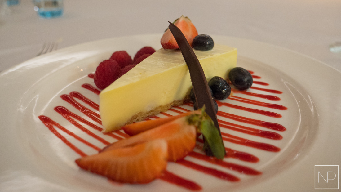 Cheesecake with berries from 'The Restaurant' onboard Viking Sea