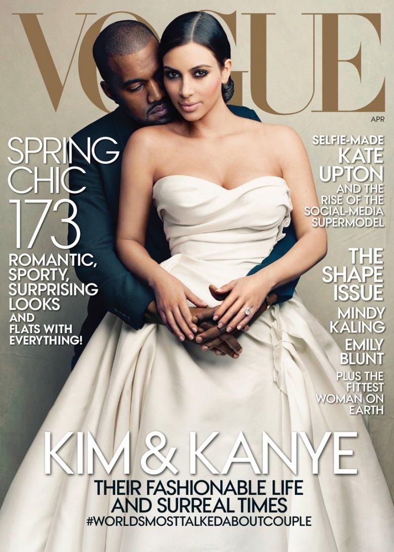 Kim Kardashian And Kanye West Cover Vogue Us April 2014