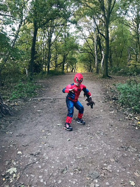 Little boy dressed as Spider-Man and holding a toy sausage dog whilst walking on a woodland path